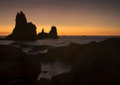 les rochers s'illuminent